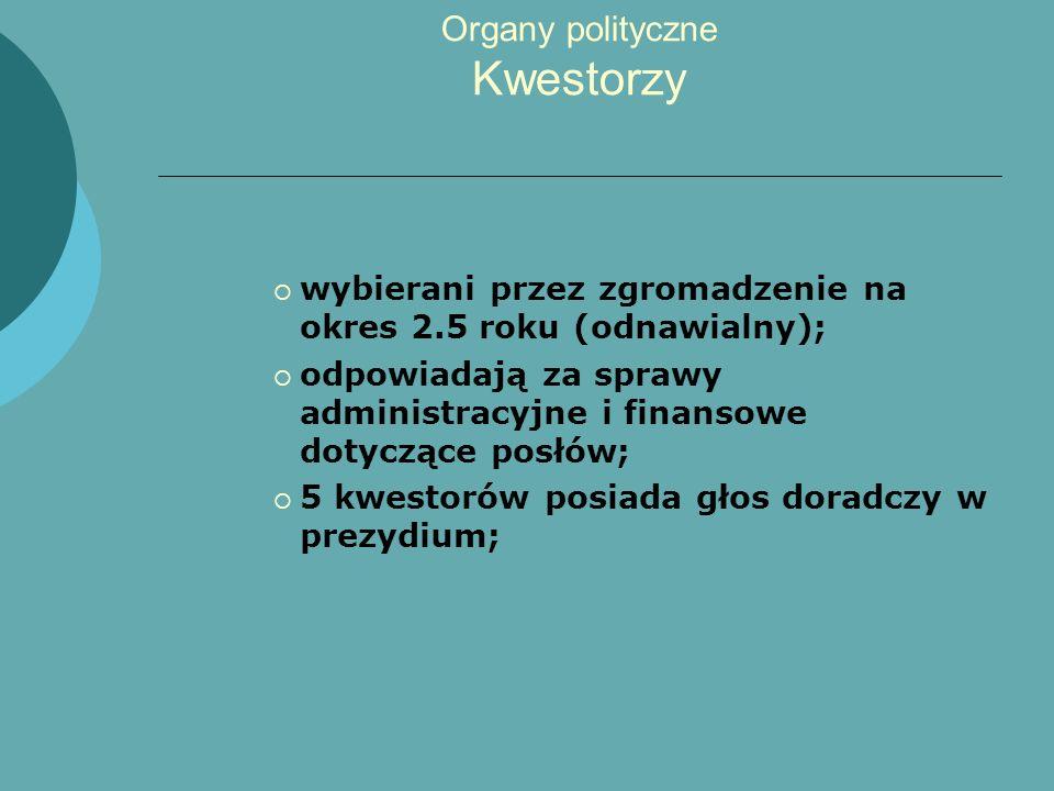 Organy polityczne Kwestorzy wybierani przez zgromadzenie na okres 2.5 roku (odnawialny); odpowiadają za sprawy administracyjne i finansowe dotyczące p
