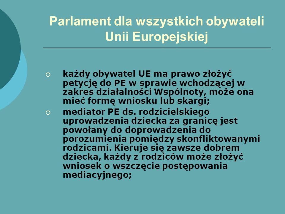 Parlament dla wszystkich obywateli Unii Europejskiej każdy obywatel UE ma prawo złożyć petycję do PE w sprawie wchodzącej w zakres działalności Wspóln