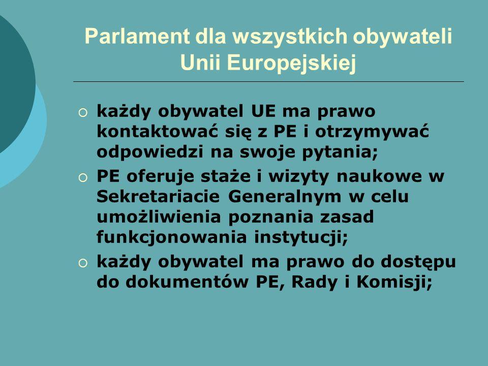 Parlament dla wszystkich obywateli Unii Europejskiej każdy obywatel UE ma prawo kontaktować się z PE i otrzymywać odpowiedzi na swoje pytania; PE ofer