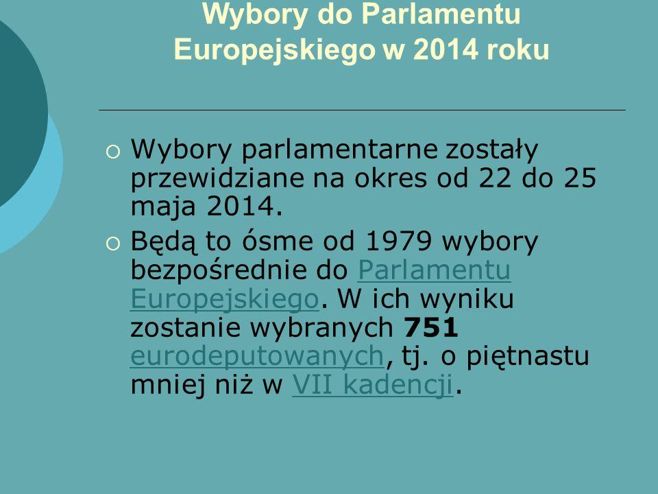 Wybory do Parlamentu Europejskiego w 2014 roku Wybory parlamentarne zostały przewidziane na okres od 22 do 25 maja 2014. Będą to ósme od 1979 wybory b