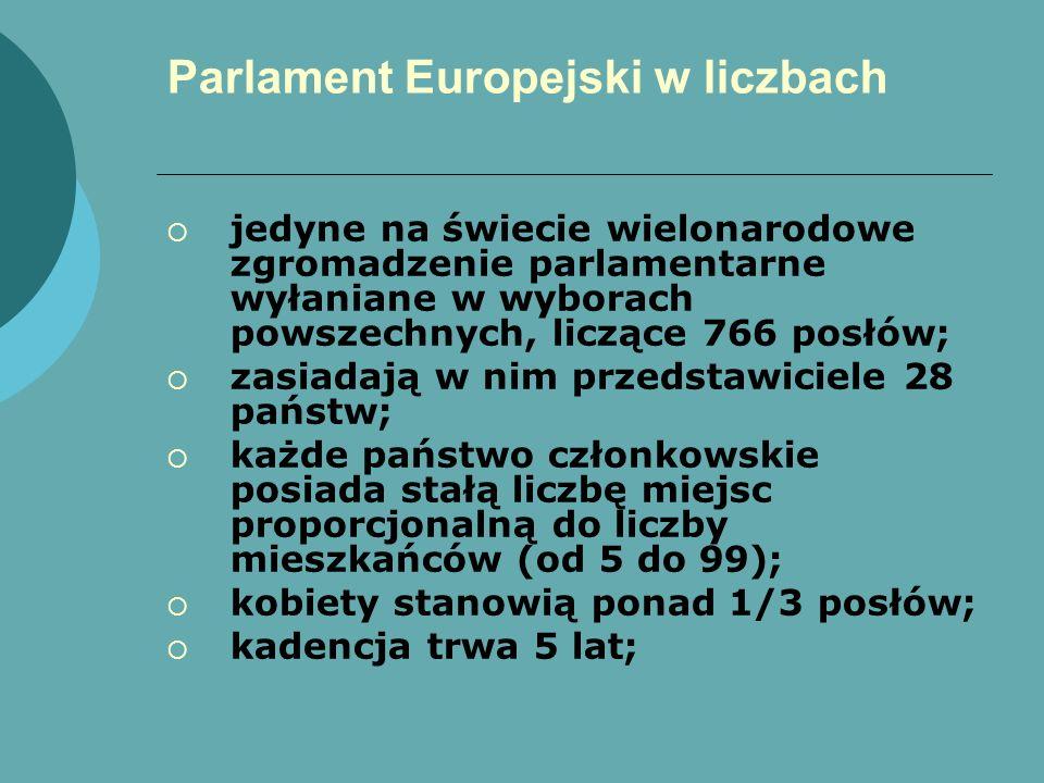 Parlament Europejski w liczbach jedyne na świecie wielonarodowe zgromadzenie parlamentarne wyłaniane w wyborach powszechnych, liczące 766 posłów; zasi