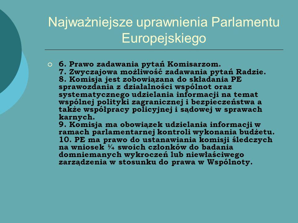 Najważniejsze uprawnienia Parlamentu Europejskiego 6. Prawo zadawania pytań Komisarzom. 7. Zwyczajowa możliwość zadawania pytań Radzie. 8. Komisja jes
