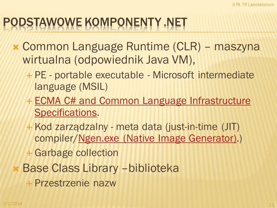 Common Language Runtime (CLR) – maszyna wirtualna (odpowiednik Java VM), PE - portable executable - Microsoft intermediate language (MSIL) ECMA C# and Common Language Infrastructure Specifications.
