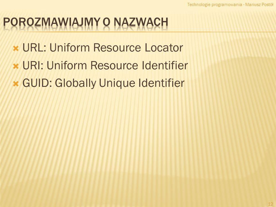 URL: Uniform Resource Locator URI: Uniform Resource Identifier GUID: Globally Unique Identifier Technologie programowania - Mariusz Postół 12