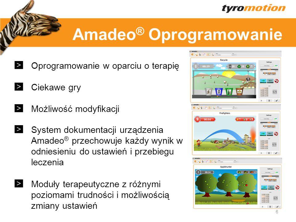 Titelmasterformat Oprogramowanie w oparciu o terapię Ciekawe gry Możliwość modyfikacji System dokumentacji urządzenia Amadeo ® przechowuje każdy wynik