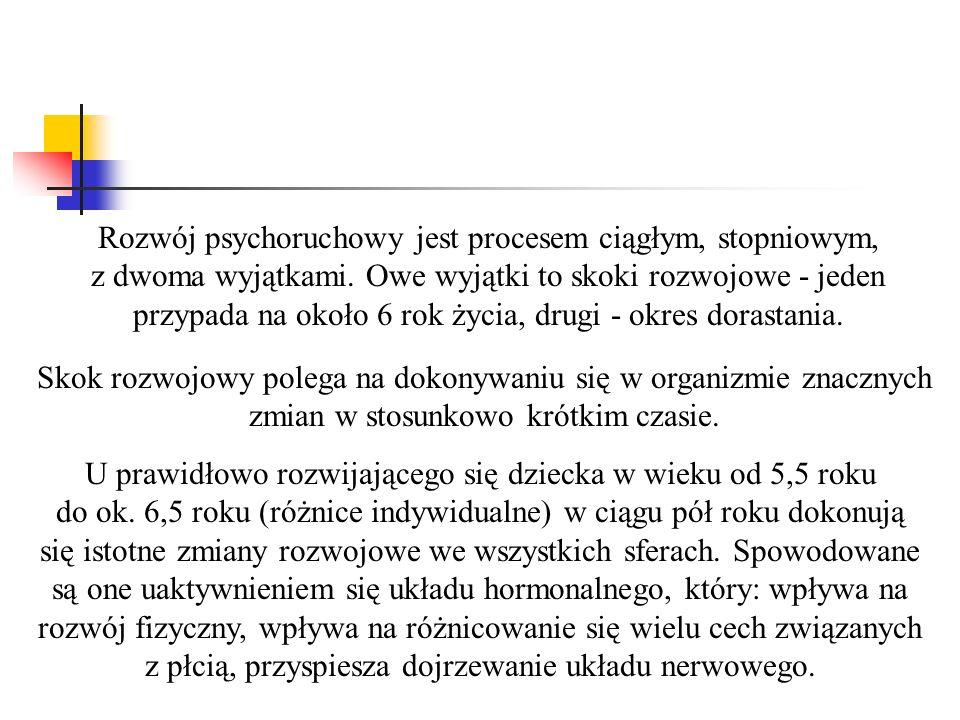 Rozwój psychoruchowy jest procesem ciągłym, stopniowym, z dwoma wyjątkami.