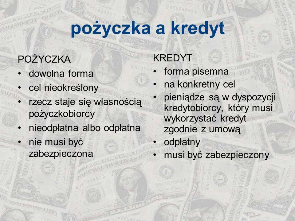 elementy umowy kredytu Umowa kredytu powinna być zawarta na piśmie i określać w szczególności: 1) strony umowy, 2) kwotę i walutę kredytu, 3) cel, na który kredyt został udzielony, 4) zasady i termin spłaty kredytu, 4a) w przypadku umowy o kredyt denominowany lub indeksowany do waluty innej niż waluta polska, szczegółowe zasady określania sposobów i terminów ustalania kursu wymiany walut, na podstawie którego w szczególności wyliczana jest kwota kredytu, jego transz i rat kapitałowo-odsetkowych oraz zasad przeliczania na walutę wypłaty albo spłaty kredytu, 5) wysokość oprocentowania kredytu i warunki jego zmiany, 6) sposób zabezpieczenia spłaty kredytu, 7) zakres uprawnień banku związanych z kontrolą wykorzystania i spłaty kredytu, 8) terminy i sposób postawienia do dyspozycji kredytobiorcy środków pieniężnych, 9) wysokość prowizji, jeżeli umowa ją przewiduje, 10) warunki dokonywania zmian i rozwiązania umowy.