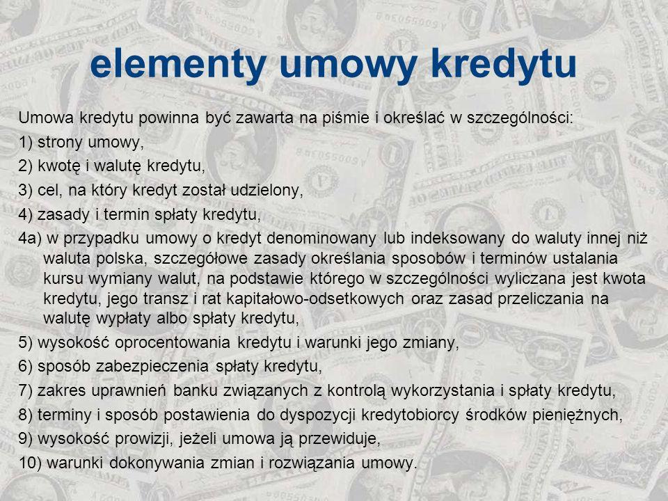 elementy umowy kredytu Umowa kredytu powinna być zawarta na piśmie i określać w szczególności: 1) strony umowy, 2) kwotę i walutę kredytu, 3) cel, na