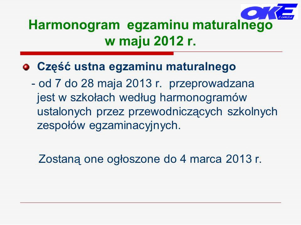 Harmonogram egzaminu maturalnego w maju 2012 r. Część ustna egzaminu maturalnego - od 7 do 28 maja 2013 r. przeprowadzana jest w szkołach według harmo