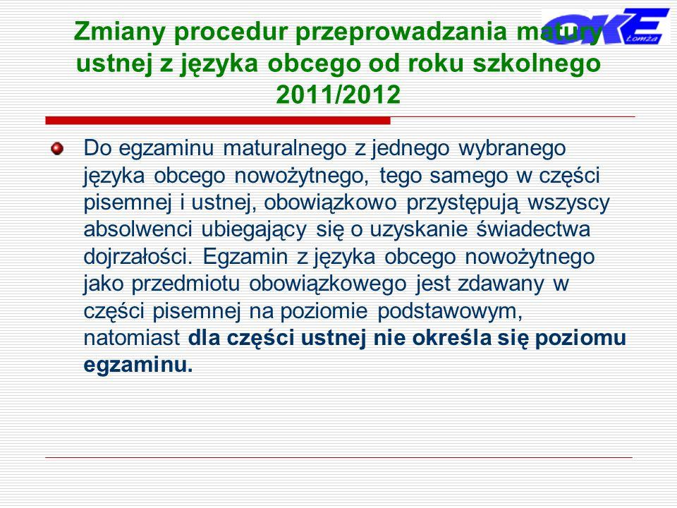 Zmiany procedur przeprowadzania matury ustnej z języka obcego od roku szkolnego 2011/2012 Język obcy nowożytny może być również wybrany przez absolwentów jako przedmiot dodatkowy.