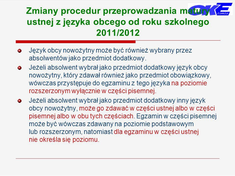 Zmiany procedur przeprowadzania matury ustnej z języka obcego od roku szkolnego 2011/2012 Język obcy nowożytny może być również wybrany przez absolwen