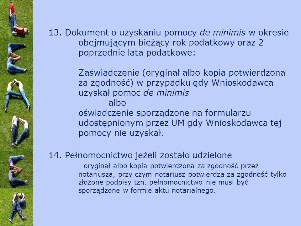 13. Dokument o uzyskaniu pomocy de minimis w okresie obejmującym bieżący rok podatkowy oraz 2 poprzednie lata podatkowe: Zaświadczenie (oryginał albo