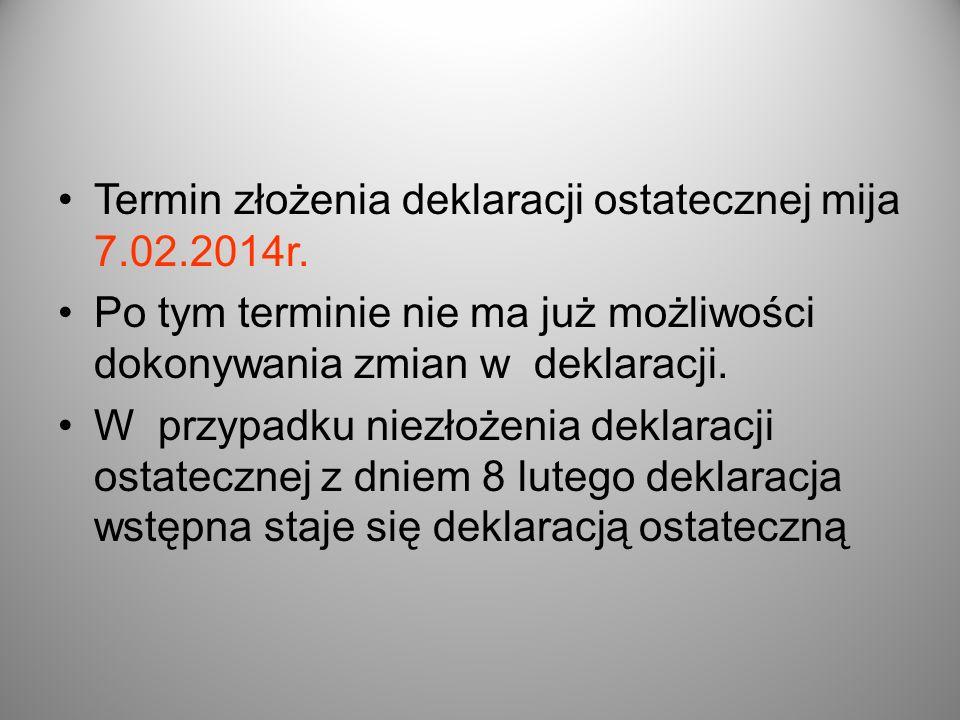 Termin złożenia deklaracji ostatecznej mija 7.02.2014r. Po tym terminie nie ma już możliwości dokonywania zmian w deklaracji. W przypadku niezłożenia