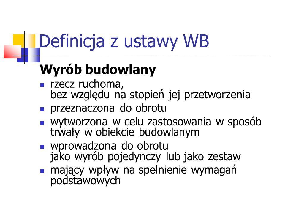 Definicja z ustawy WB Wyrób budowlany rzecz ruchoma, bez względu na stopień jej przetworzenia przeznaczona do obrotu wytworzona w celu zastosowania w