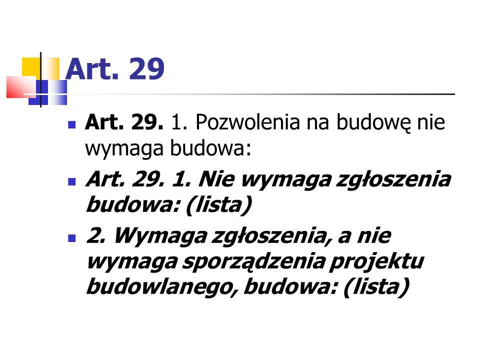 Art. 29 Art. 29. 1. Pozwolenia na budowę nie wymaga budowa: Art. 29. 1. Nie wymaga zgłoszenia budowa: (lista) 2. Wymaga zgłoszenia, a nie wymaga sporz