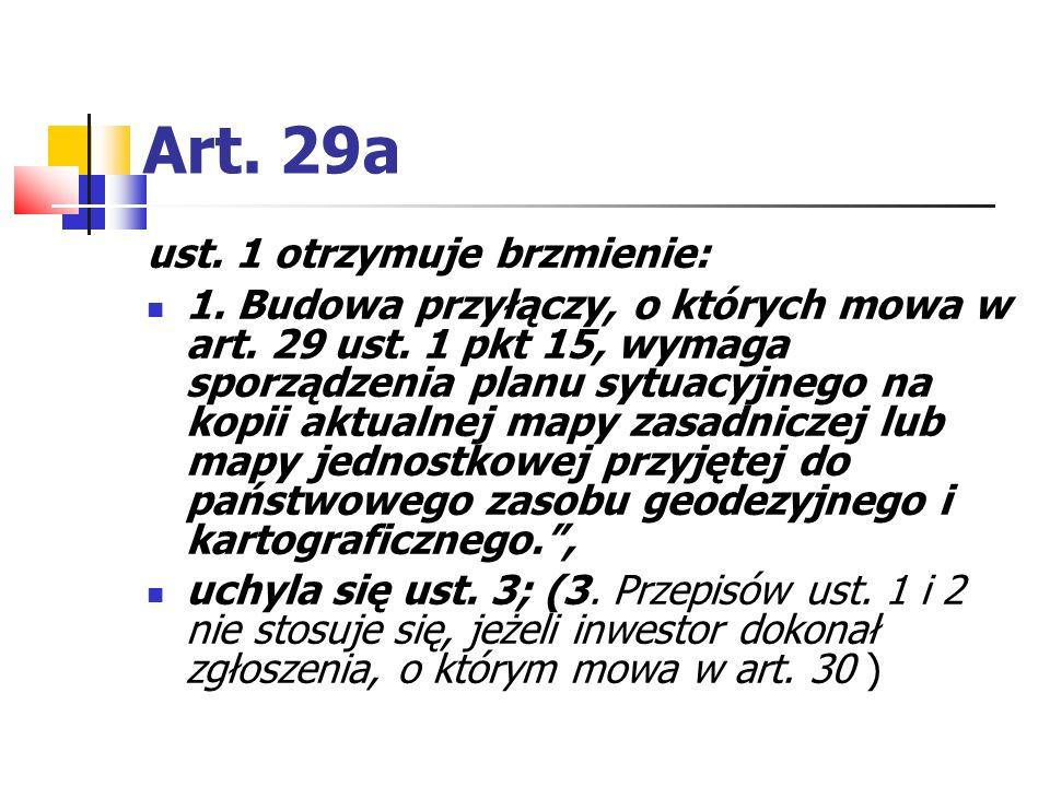 Art. 29a ust. 1 otrzymuje brzmienie: 1. Budowa przyłączy, o których mowa w art. 29 ust. 1 pkt 15, wymaga sporządzenia planu sytuacyjnego na kopii aktu