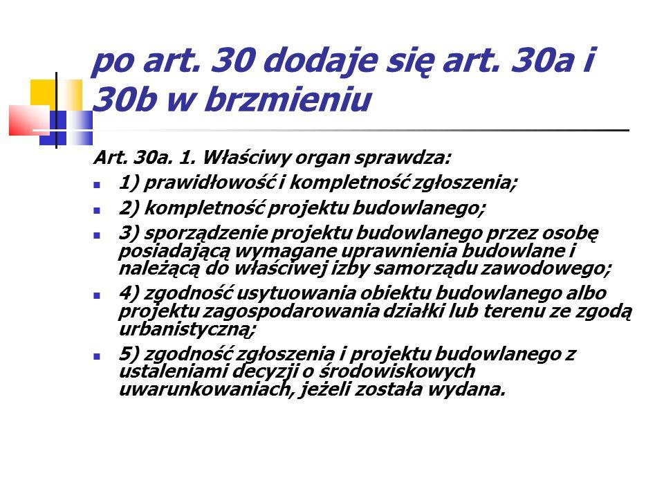 po art. 30 dodaje się art. 30a i 30b w brzmieniu Art. 30a. 1. Właściwy organ sprawdza: 1) prawidłowość i kompletność zgłoszenia; 2) kompletność projek