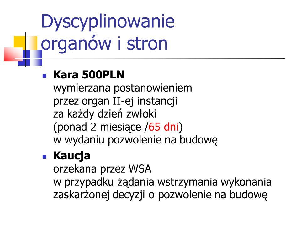 Dyscyplinowanie organów i stron Kara 500PLN wymierzana postanowieniem przez organ II-ej instancji za każdy dzień zwłoki (ponad 2 miesiące /65 dni) w w