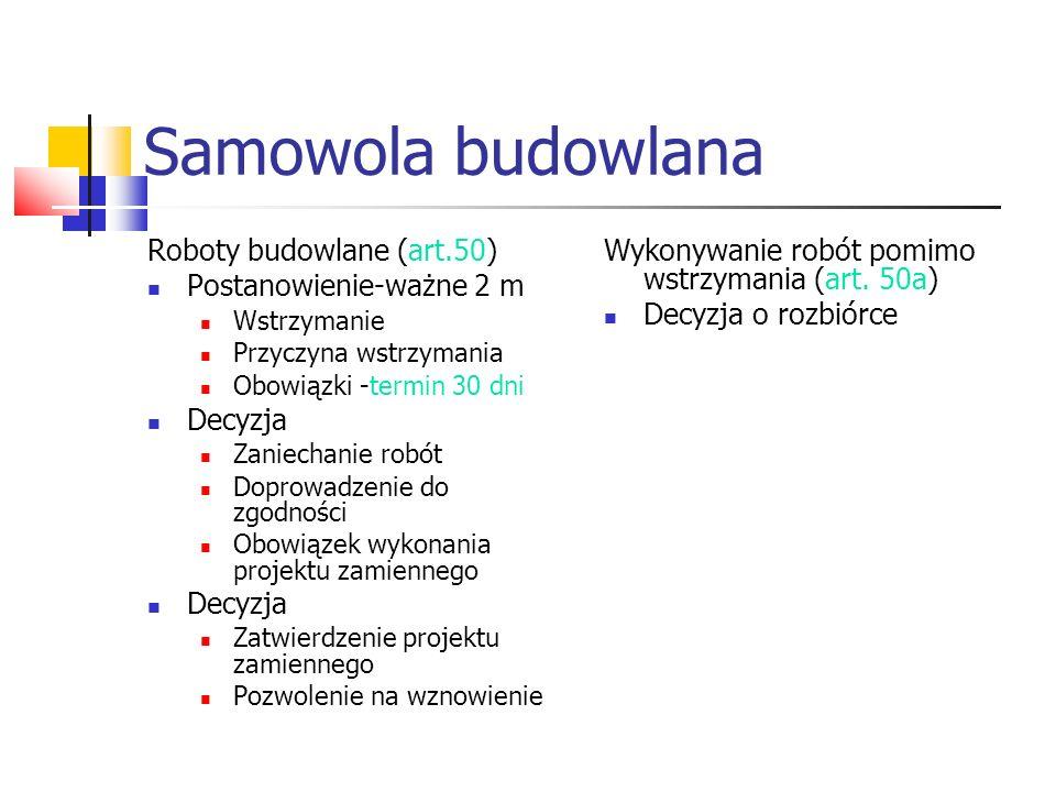 Samowola budowlana Roboty budowlane (art.50) Postanowienie-ważne 2 m Wstrzymanie Przyczyna wstrzymania Obowiązki -termin 30 dni Decyzja Zaniechanie ro