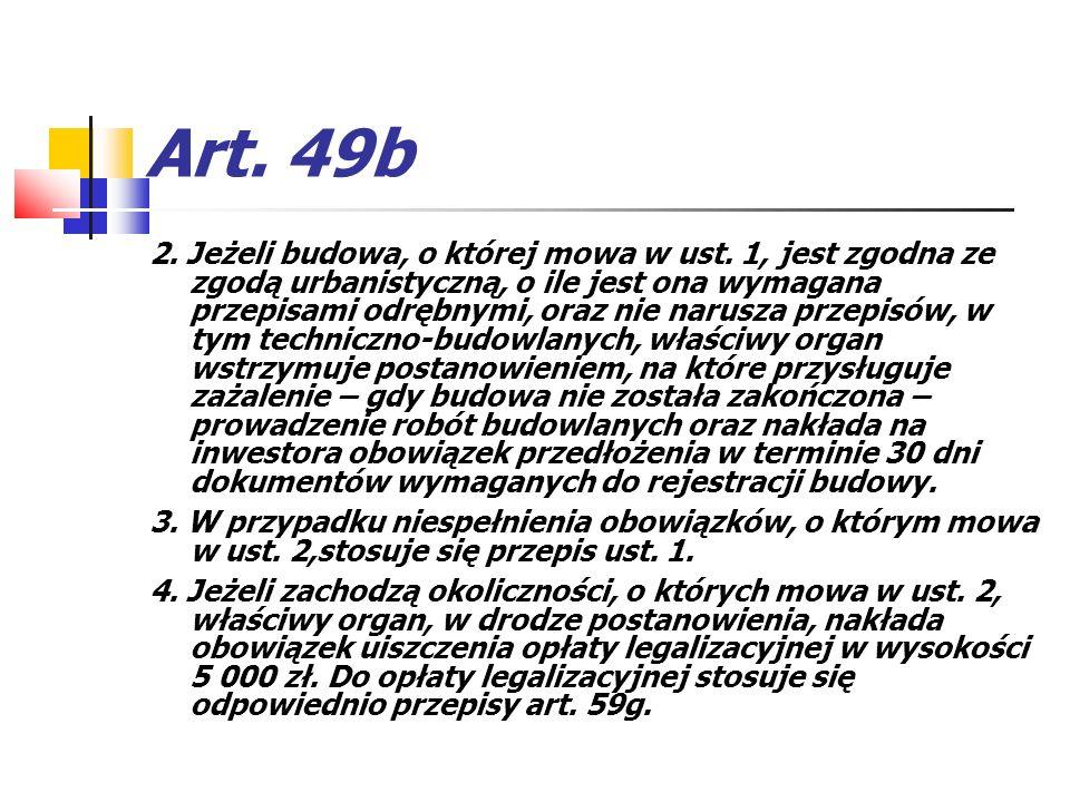 Art. 49b 2. Jeżeli budowa, o której mowa w ust. 1, jest zgodna ze zgodą urbanistyczną, o ile jest ona wymagana przepisami odrębnymi, oraz nie narusza