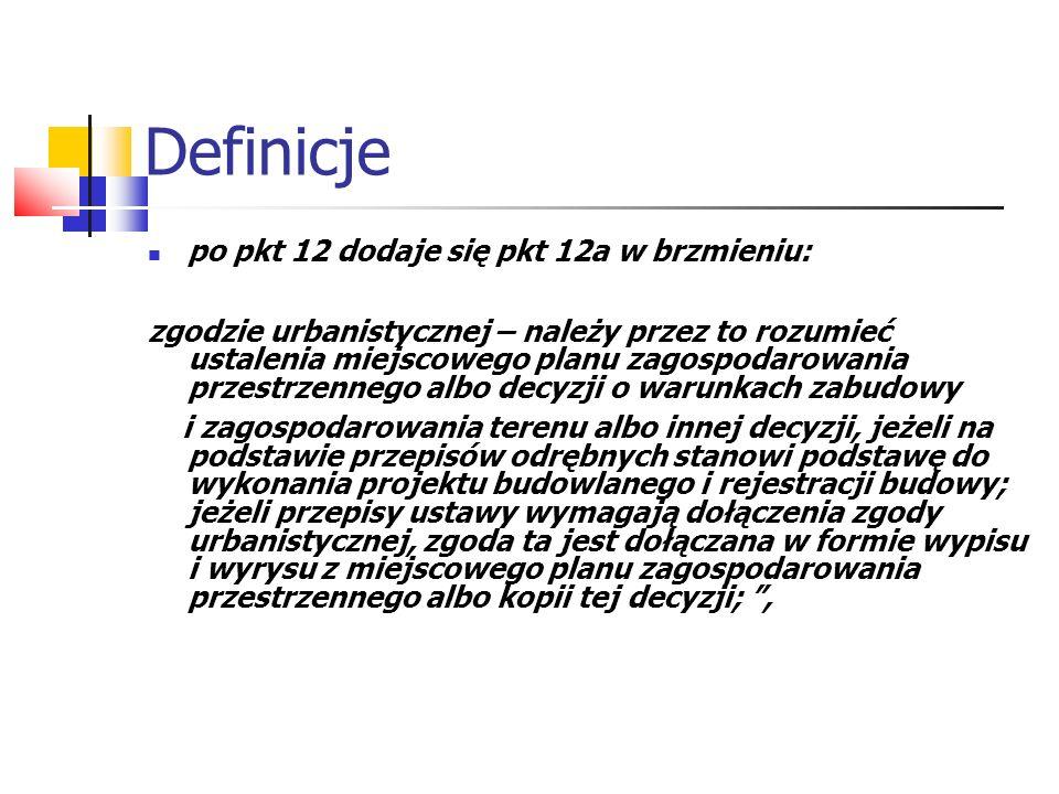 Definicje po pkt 12 dodaje się pkt 12a w brzmieniu: zgodzie urbanistycznej – należy przez to rozumieć ustalenia miejscowego planu zagospodarowania prz