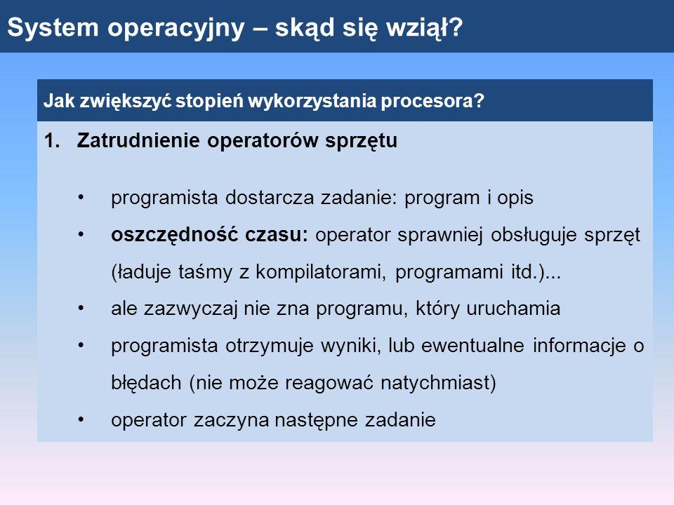 System operacyjny – skąd się wziął? Jak zwiększyć stopień wykorzystania procesora? 1.Zatrudnienie operatorów sprzętu programista dostarcza zadanie: pr