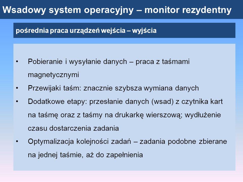 Wsadowy system operacyjny – monitor rezydentny pośrednia praca urządzeń wejścia – wyjścia Pobieranie i wysyłanie danych – praca z taśmami magnetycznym