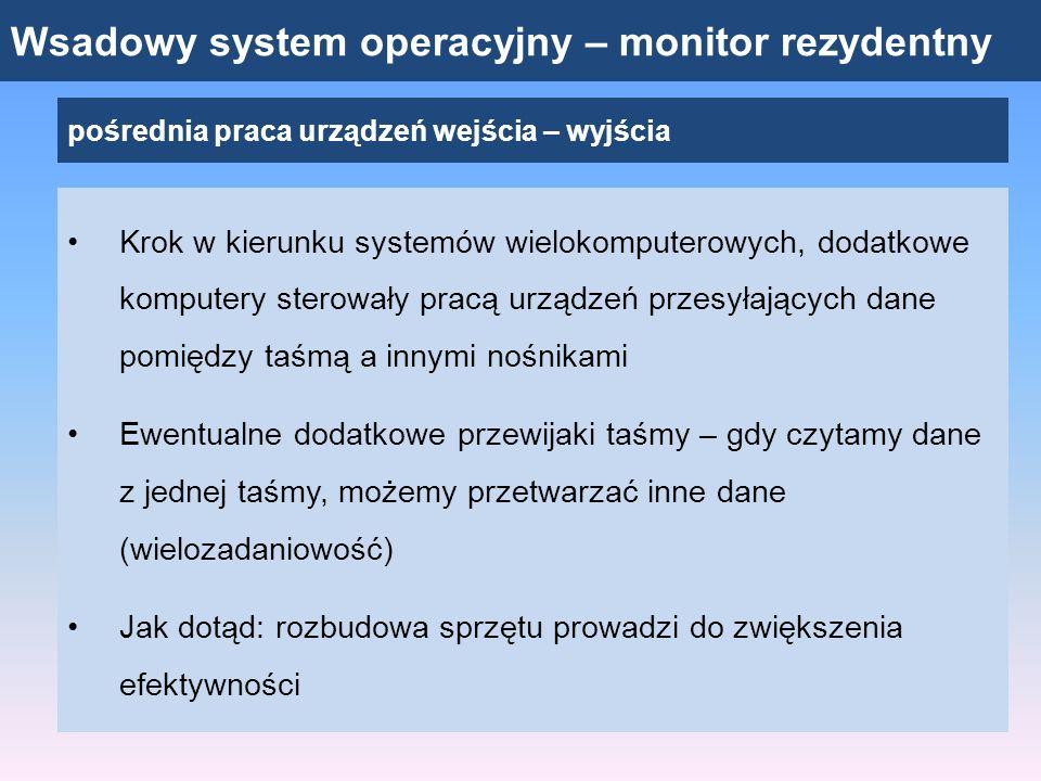 Wsadowy system operacyjny – monitor rezydentny pośrednia praca urządzeń wejścia – wyjścia Krok w kierunku systemów wielokomputerowych, dodatkowe kompu