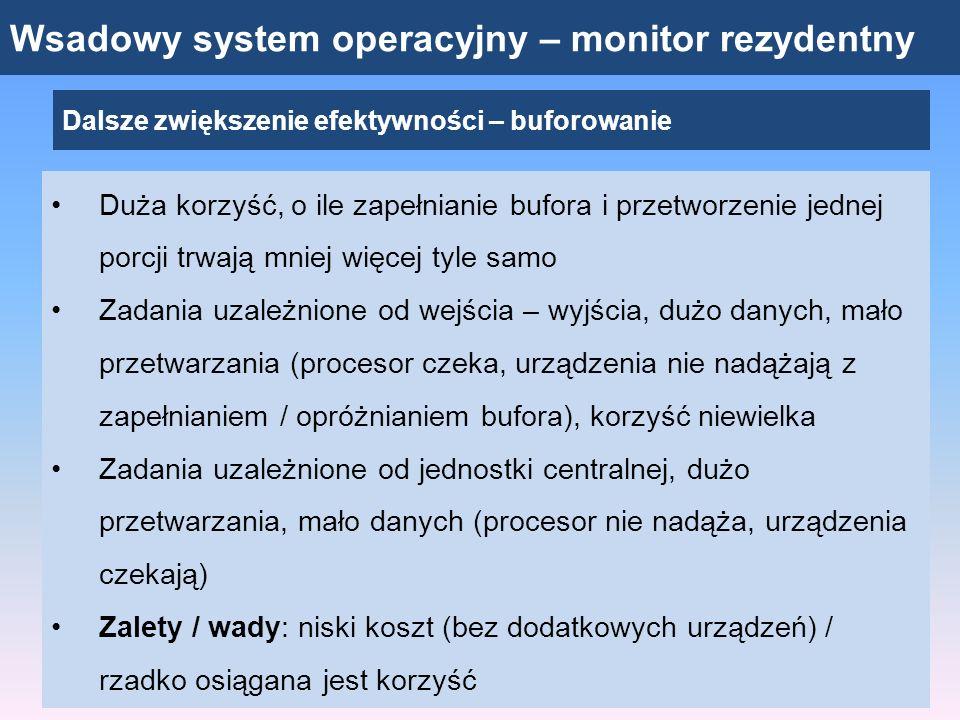 Wsadowy system operacyjny – monitor rezydentny Dalsze zwiększenie efektywności – buforowanie Duża korzyść, o ile zapełnianie bufora i przetworzenie je