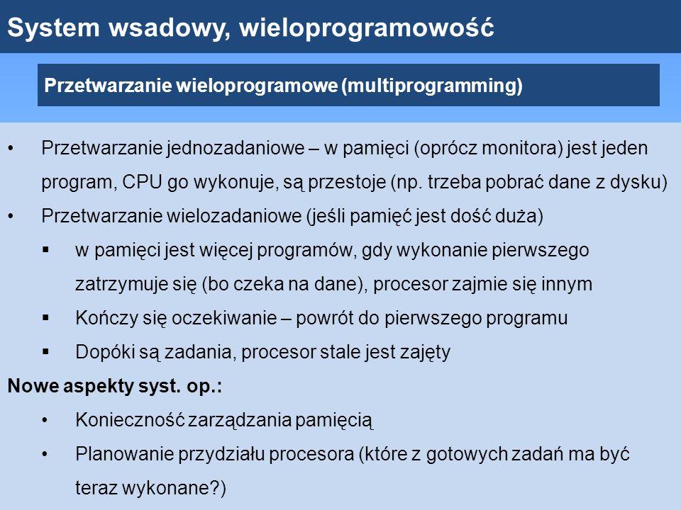 System wsadowy, wieloprogramowość Przetwarzanie wieloprogramowe (multiprogramming) Przetwarzanie jednozadaniowe – w pamięci (oprócz monitora) jest jed