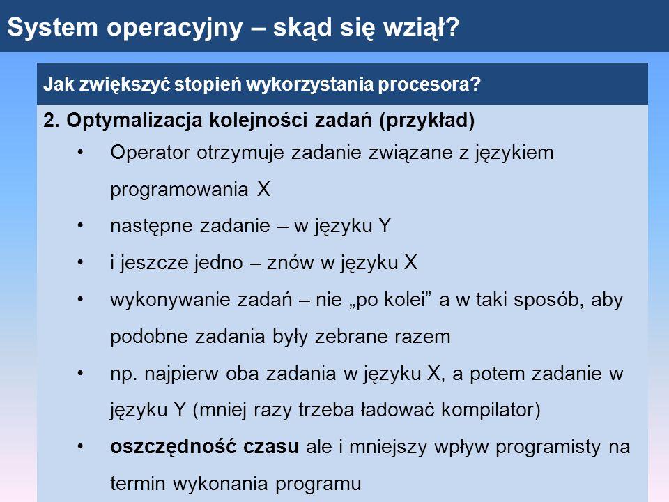 System operacyjny – skąd się wziął? Jak zwiększyć stopień wykorzystania procesora? 2. Optymalizacja kolejności zadań (przykład) Operator otrzymuje zad