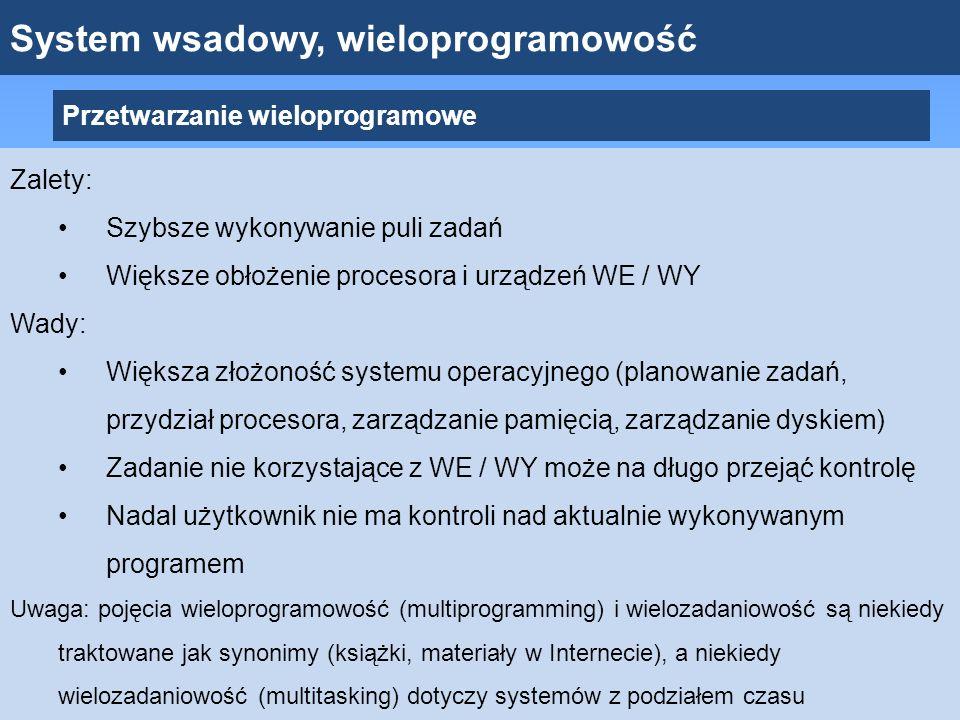 System wsadowy, wieloprogramowość Przetwarzanie wieloprogramowe Zalety: Szybsze wykonywanie puli zadań Większe obłożenie procesora i urządzeń WE / WY