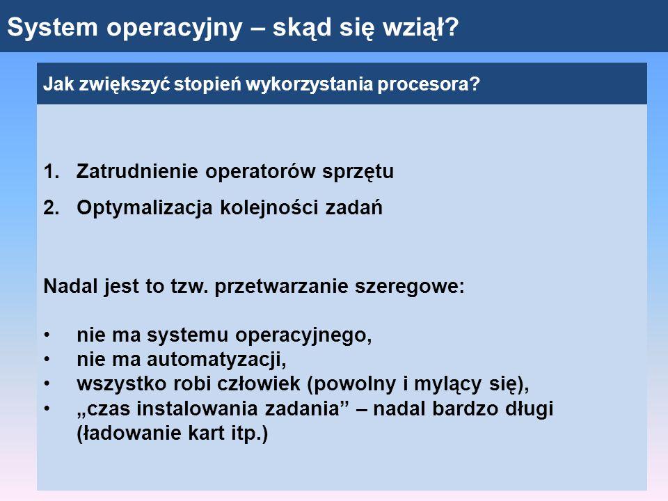 System operacyjny – skąd się wziął? Jak zwiększyć stopień wykorzystania procesora? 1.Zatrudnienie operatorów sprzętu 2.Optymalizacja kolejności zadań