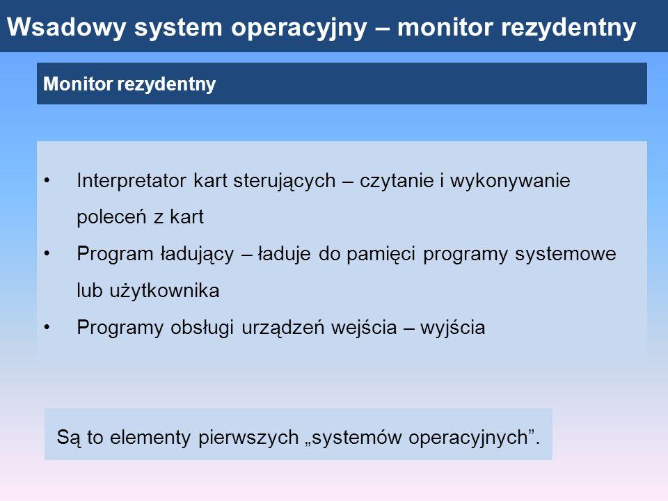 Wsadowy system operacyjny – monitor rezydentny Monitor rezydentny Interpretator kart sterujących – czytanie i wykonywanie poleceń z kart Program ładuj