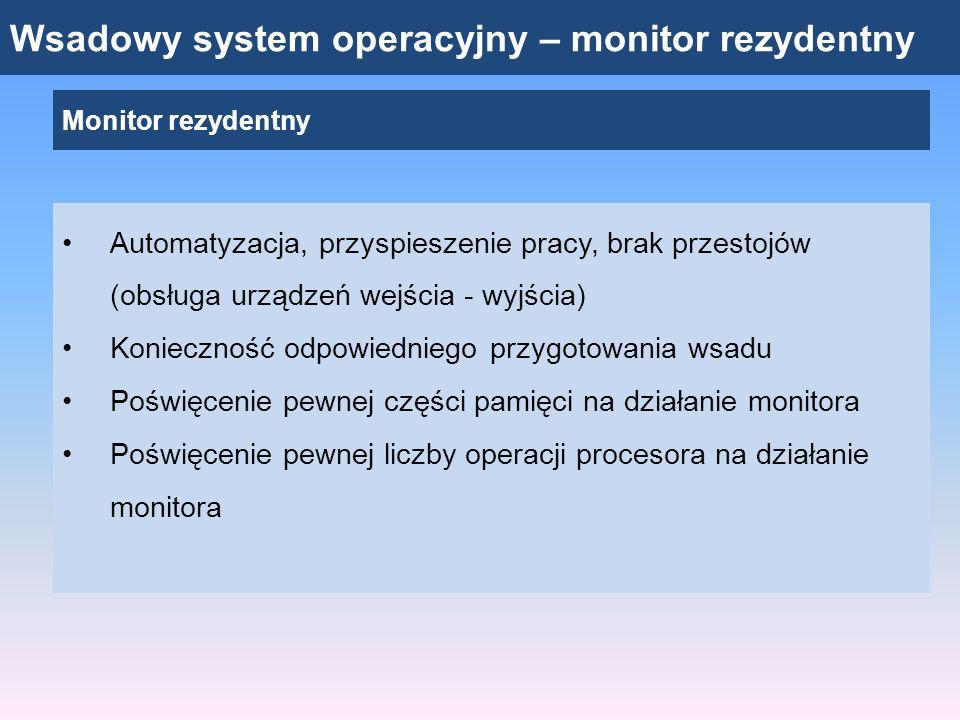 Wsadowy system operacyjny – monitor rezydentny Monitor rezydentny Automatyzacja, przyspieszenie pracy, brak przestojów (obsługa urządzeń wejścia - wyj