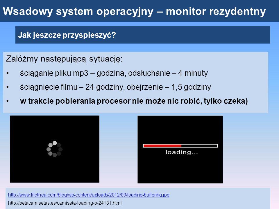Wsadowy system operacyjny – monitor rezydentny Jak jeszcze przyspieszyć? Załóżmy następującą sytuację: ściąganie pliku mp3 – godzina, odsłuchanie – 4