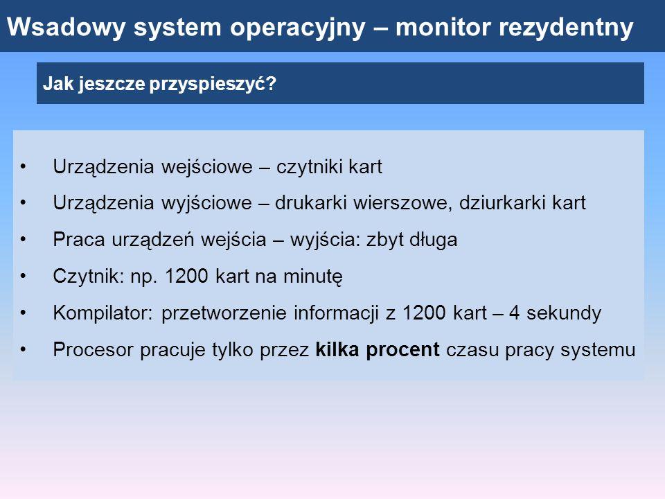 Wsadowy system operacyjny – monitor rezydentny Jak jeszcze przyspieszyć? Urządzenia wejściowe – czytniki kart Urządzenia wyjściowe – drukarki wierszow