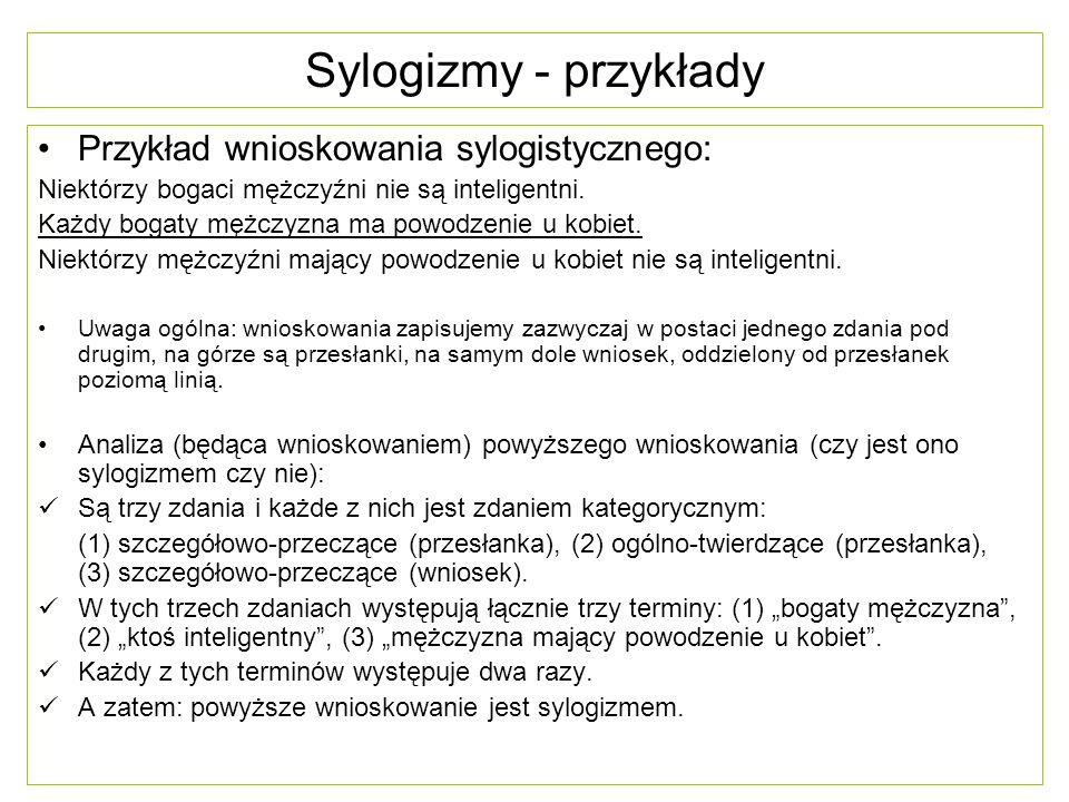 Sylogizmy - przykłady Przykład wnioskowania sylogistycznego: Niektórzy bogaci mężczyźni nie są inteligentni. Każdy bogaty mężczyzna ma powodzenie u ko