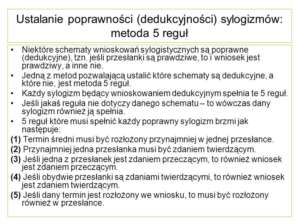 Ustalanie poprawności (dedukcyjności) sylogizmów: metoda 5 reguł Niektóre schematy wnioskowań sylogistycznych są poprawne (dedukcyjne), tzn. jeśli prz