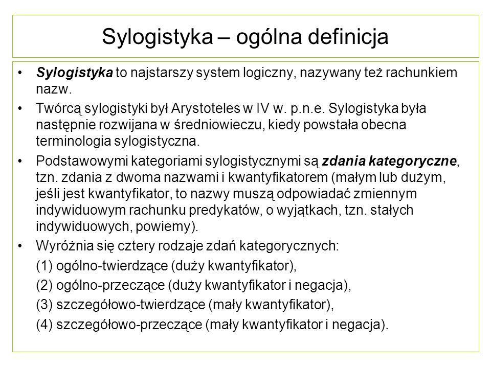 Sylogistyka – ogólna definicja Sylogistyka to najstarszy system logiczny, nazywany też rachunkiem nazw. Twórcą sylogistyki był Arystoteles w IV w. p.n