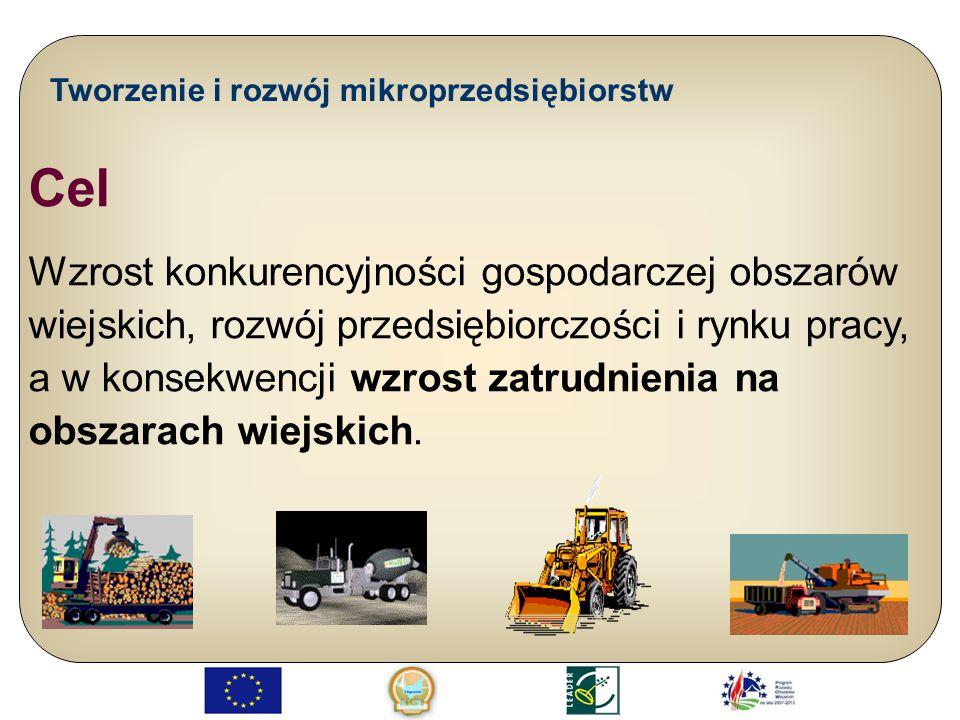 Tworzenie i rozwój mikroprzedsiębiorstw Cel Wzrost konkurencyjności gospodarczej obszarów wiejskich, rozwój przedsiębiorczości i rynku pracy, a w kons