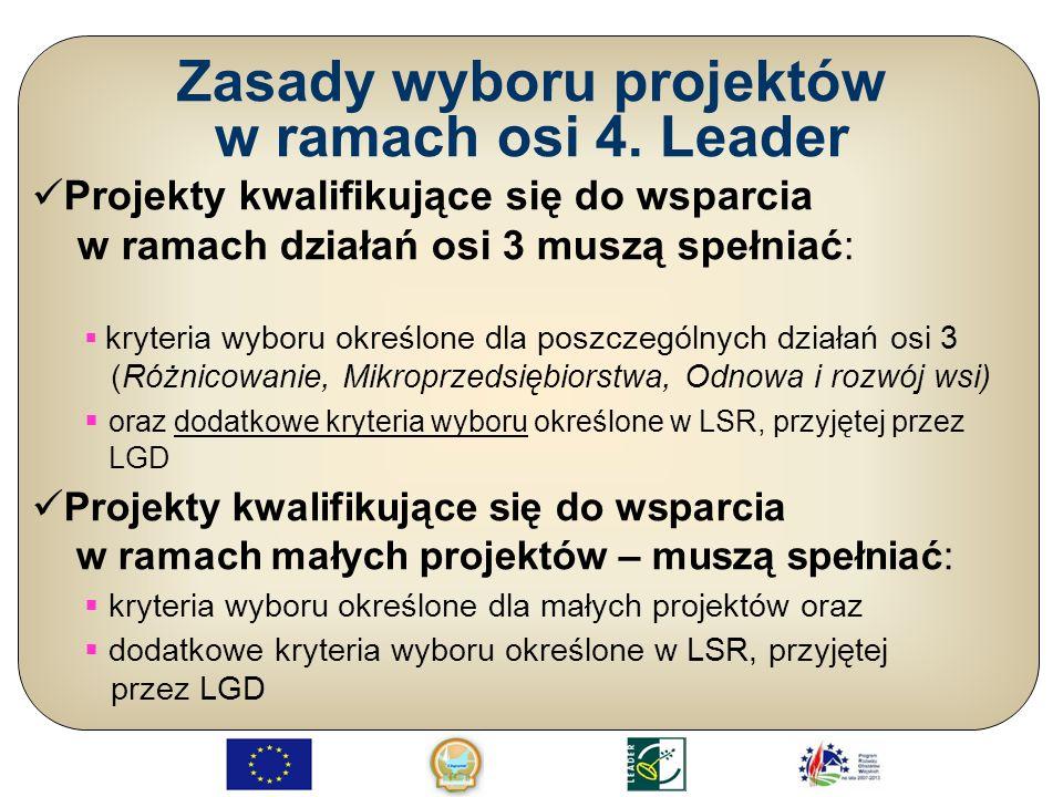 Działania osi 3 wdrażane podejściem Leader – kryteria wyboru Różnicowanie w kierunku działalności nierolniczej; Tworzenie i rozwój mikroprzedsiębiorstw; Odnowa i rozwój wsi;