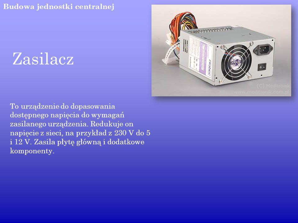 Budowa jednostki centralnej Zasilacz To urządzenie do dopasowania dostępnego napięcia do wymagań zasilanego urządzenia. Redukuje on napięcie z sieci,