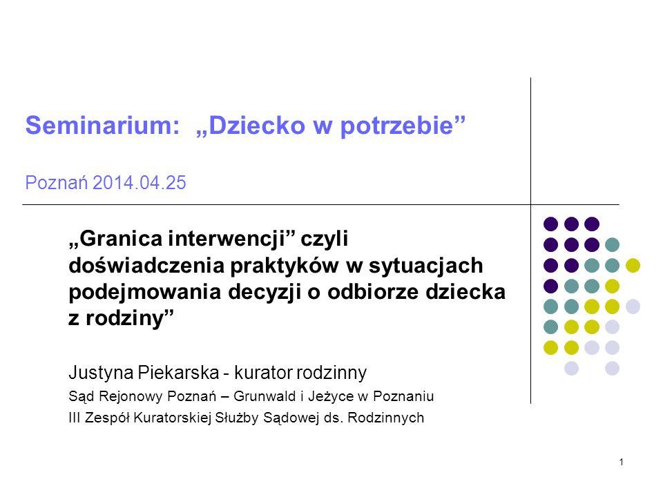 Seminarium: Dziecko w potrzebie Poznań 2014.04.25 Granica interwencji czyli doświadczenia praktyków w sytuacjach podejmowania decyzji o odbiorze dziec
