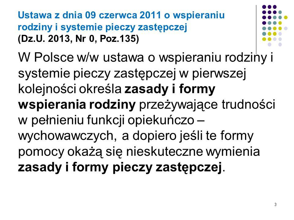 Ustawa z dnia 09 czerwca 2011 o wspieraniu rodziny i systemie pieczy zastępczej (Dz.U. 2013, Nr 0, Poz.135) W Polsce w/w ustawa o wspieraniu rodziny i