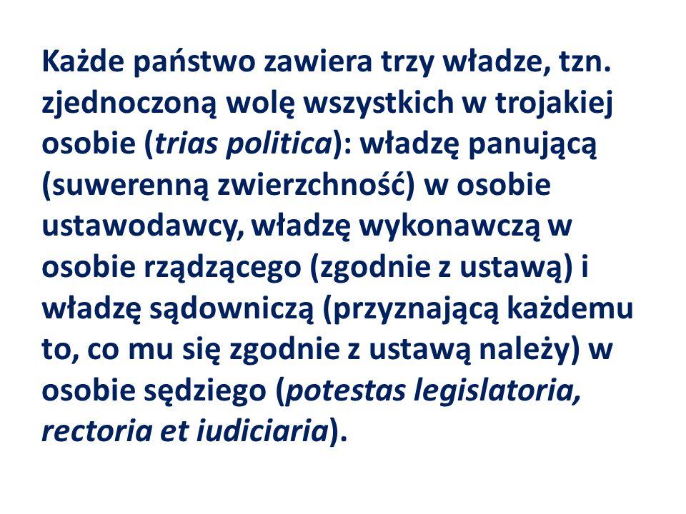 Każde państwo zawiera trzy władze, tzn. zjednoczoną wolę wszystkich w trojakiej osobie (trias politica): władzę panującą (suwerenną zwierzchność) w os