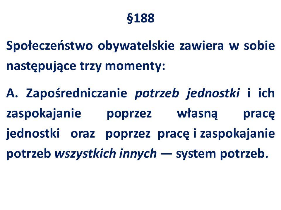 §188 Społeczeństwo obywatelskie zawiera w sobie następujące trzy momenty: A. Zapośredniczanie potrzeb jednostki i ich zaspokajanie poprzez własną prac