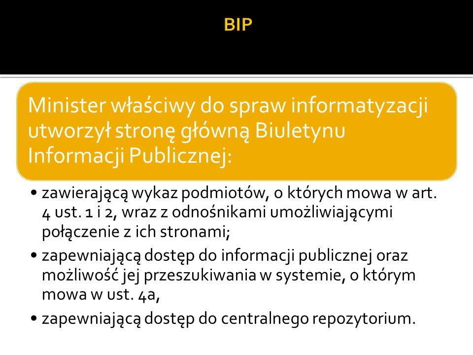 Minister właściwy do spraw informatyzacji utworzył stronę główną Biuletynu Informacji Publicznej: zawierającą wykaz podmiotów, o których mowa w art.
