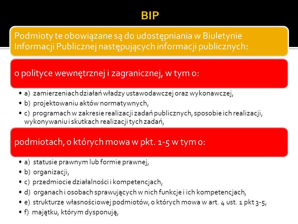 Podmioty te obowiązane są do udostępniania w Biuletynie Informacji Publicznej następujących informacji publicznych: o polityce wewnętrznej i zagranicznej, w tym o: a) zamierzeniach działań władzy ustawodawczej oraz wykonawczej, b) projektowaniu aktów normatywnych, c) programach w zakresie realizacji zadań publicznych, sposobie ich realizacji, wykonywaniu i skutkach realizacji tych zadań, podmiotach, o których mowa w pkt.