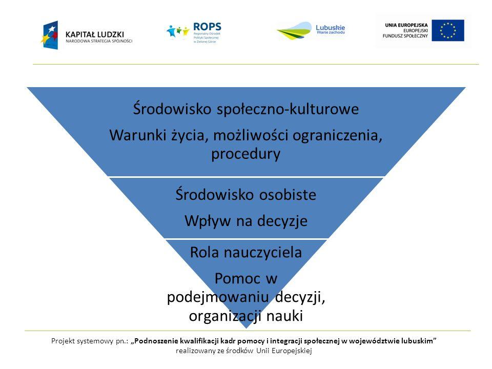 Projekt systemowy pn.: Podnoszenie kwalifikacji kadr pomocy i integracji społecznej w województwie lubuskim realizowany ze środków Unii Europejskiej Ś